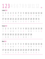 Calendrier trimestriel 2014