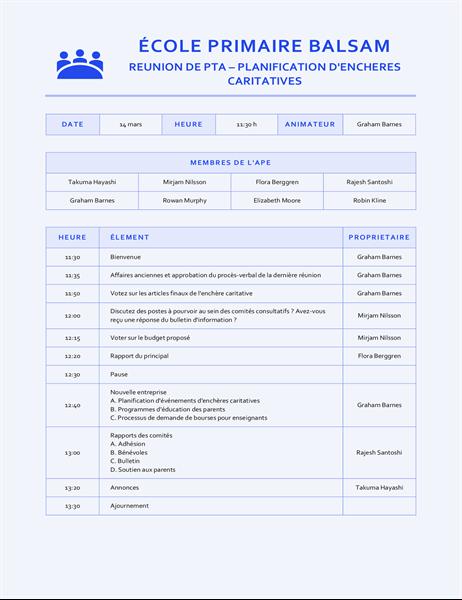 Notulen voor onderwijsvergadering, blauw