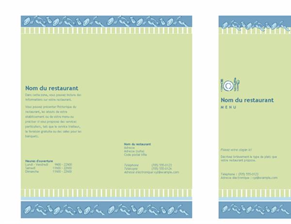 Tri-fold restaurant menu