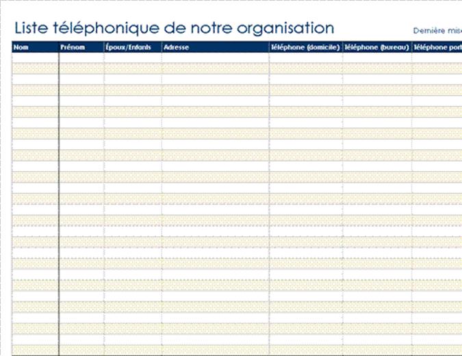 Liste téléphonique de l'organisation