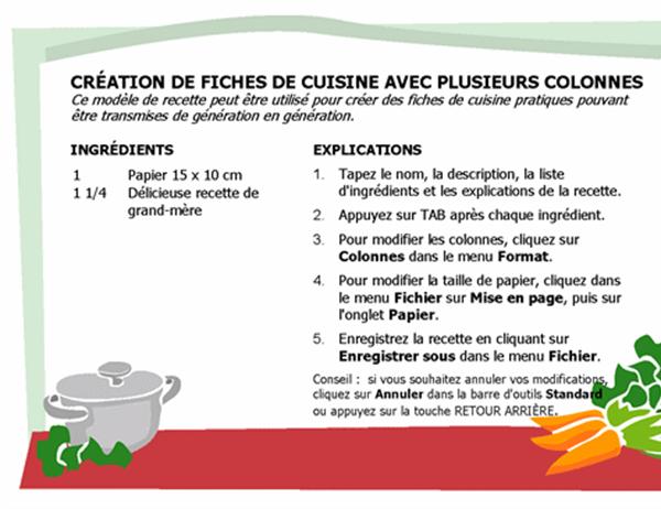 Fiche de cuisine (plusieurs colonnes)