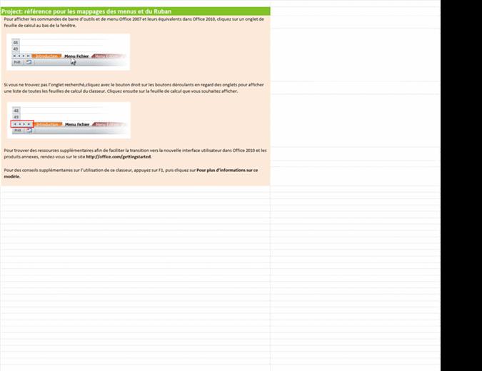 Project2010: classeur de référence pour les mappages des menus et du Ruban