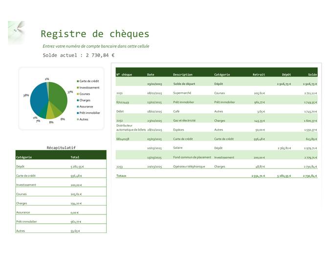 Registre de chèques avec graphique