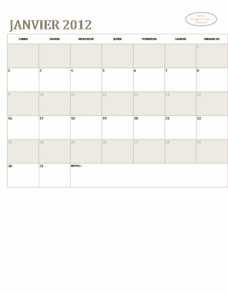 Calendrier PME (n'importe quelle année, Lun-Dim)