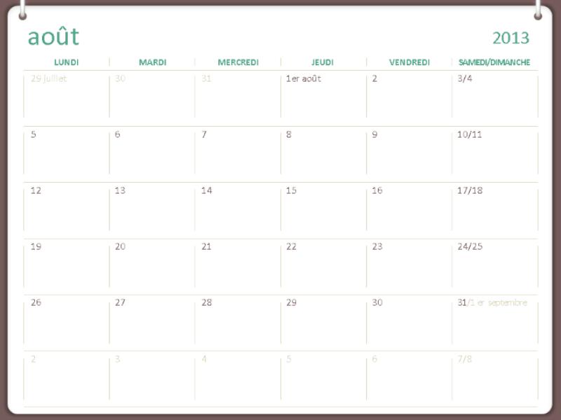 Calendrier scolaire 2013-2014 (août)
