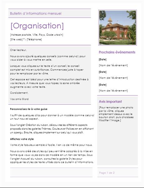 Bulletin d'informations pour une école primaire