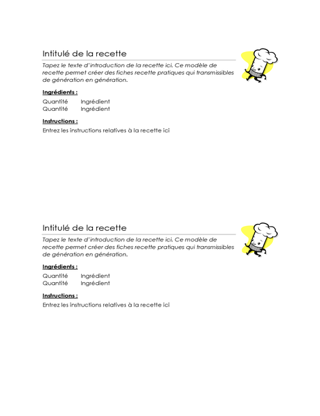 Fiches recette (2 par page)