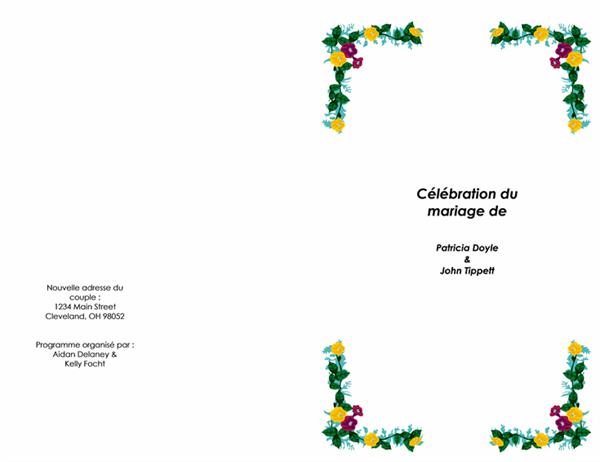 Programme de cérémonie de mariage