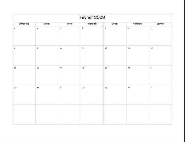 Calendrier 2009 (modèle de base)