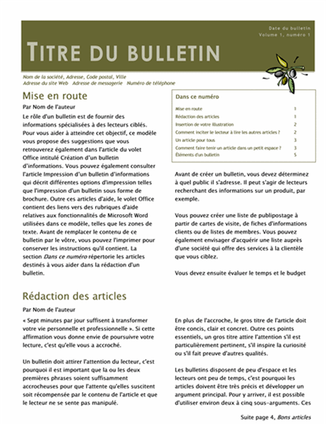Bulletin d'informations professionnel (2 colonnes, 6 pages, distribution)