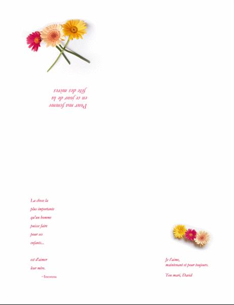 Carte de fête des mères (pour épouse)