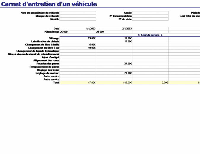 Carnet d'entretien d'un véhicule