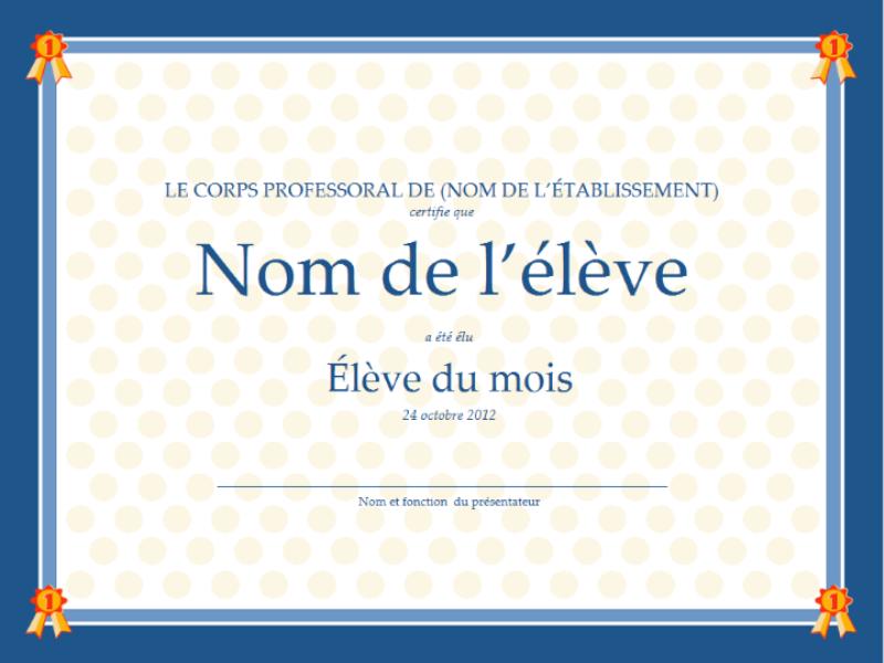 Certificat de l'élève du mois
