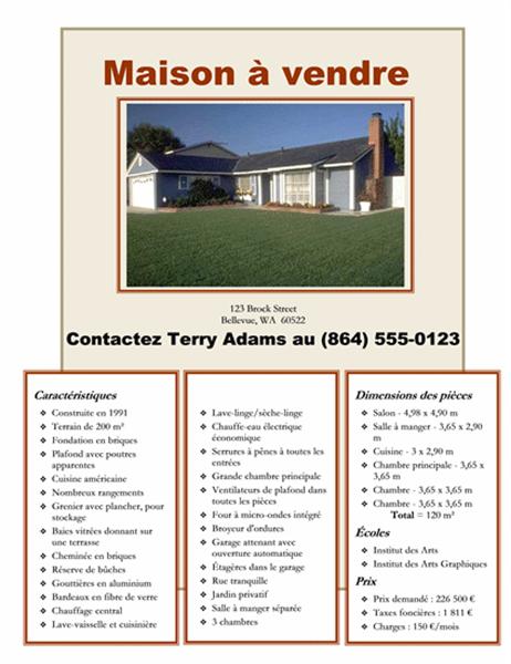 Affichette Maison à vendre avec photo, plan et agencement intérieur