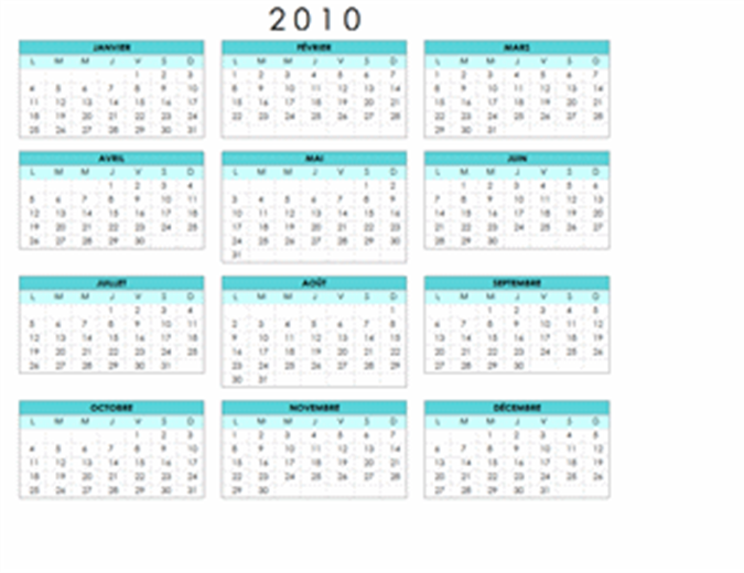 Calendrier 2010 (1 page, paysage, lun-dim)