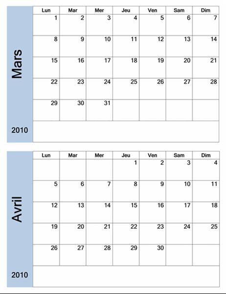 Calendrier 2010 avec bordure bleue (6 pages, lun-dim)