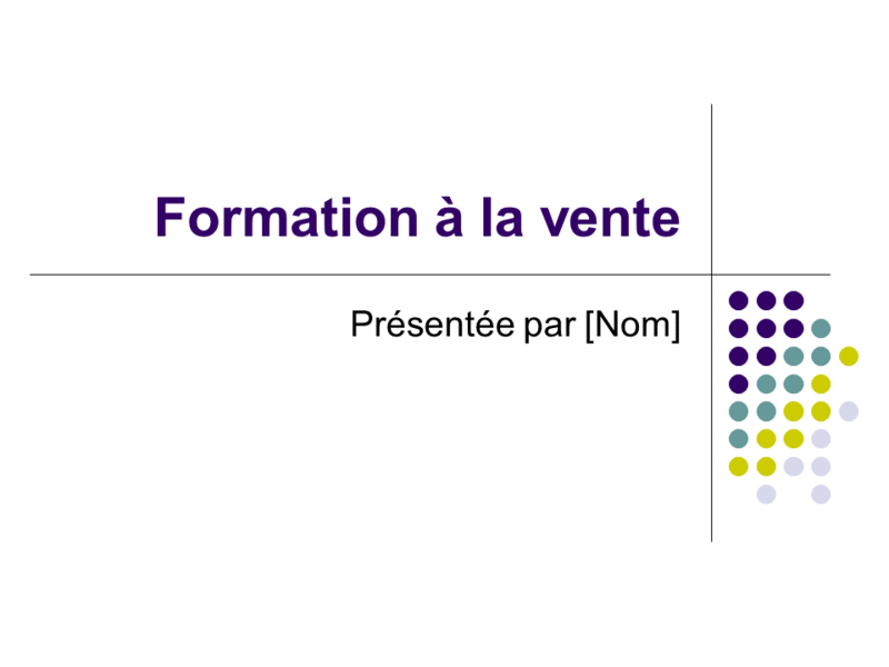 Diapositives de formation à la vente