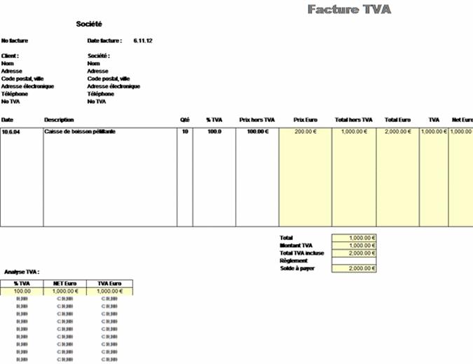 Facture TVA - prix hors taxes