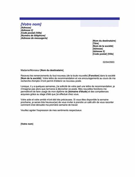 Remerciements pour une lettre de recommandation qui a porté ses fruits (thème Trait bleu)
