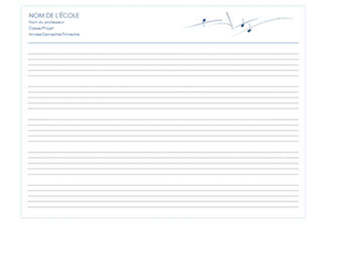 Papier de portée générique (paysage, 5/page)