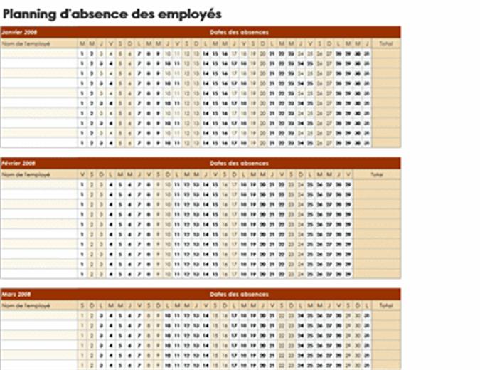 Planning d'absence des employés 2008