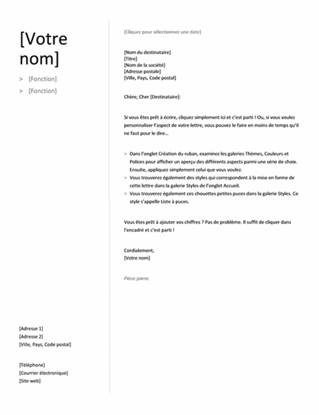 Cover letter for chronological resume (Simple design)