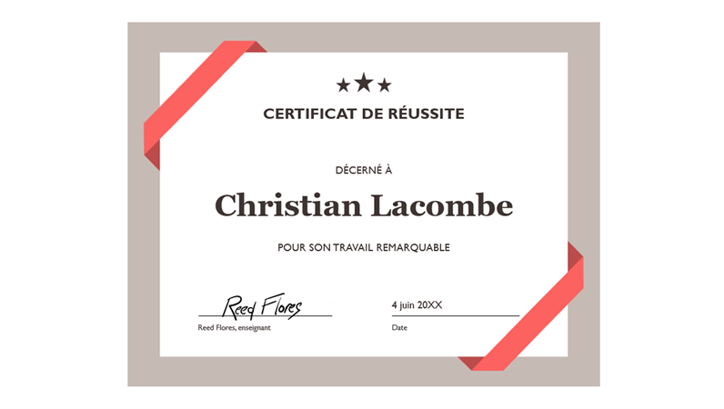 Certificat de réussite (bordure bleue officielle)