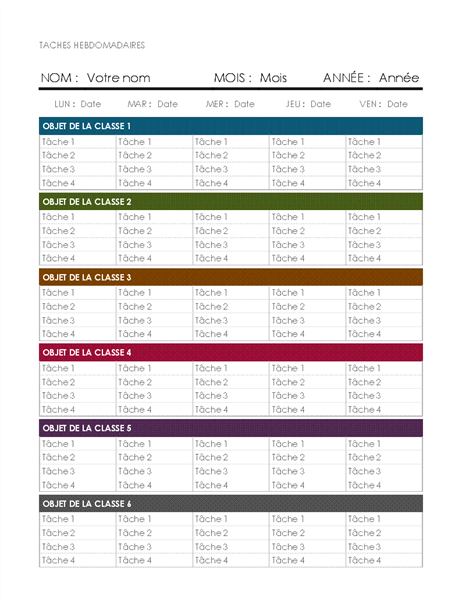 Kalender für wöchentliche Aufgaben