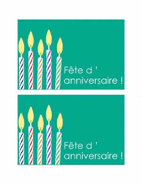 Carte d'invitation à un anniversaire