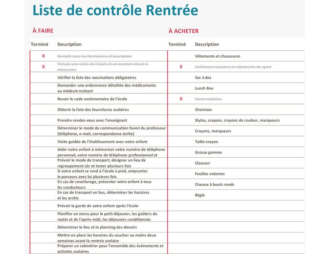 Liste de contrôle Rentrée scolaire