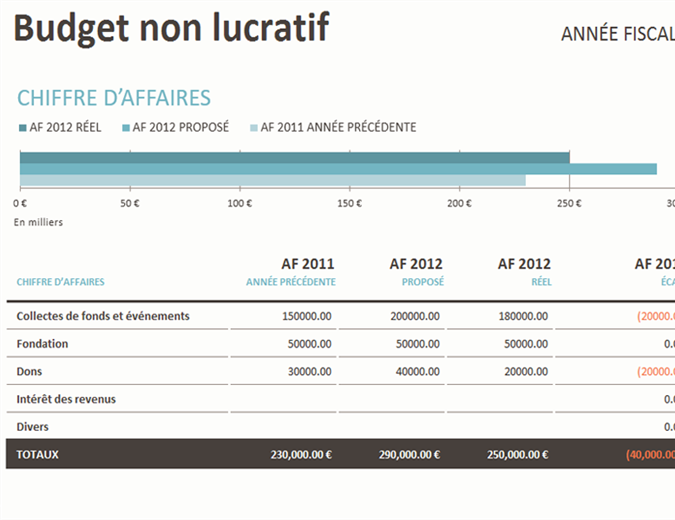 Budget des opérations sans but lucratif/collectes de fonds