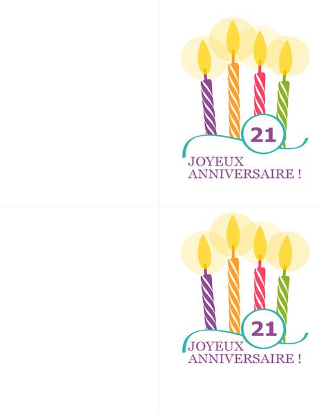 Cartes d'anniversaire marquant (2 par page, pour support Avery 8315)
