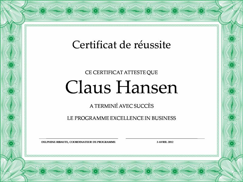 Certificat d'achèvement (vert)
