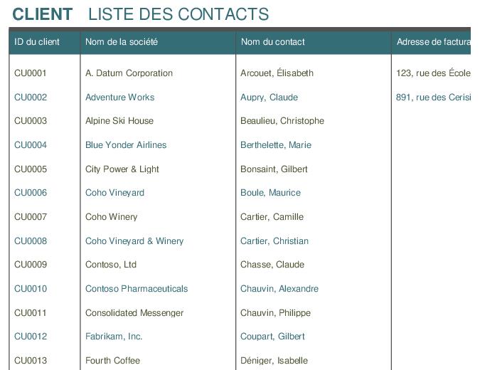 Liste de contacts
