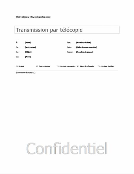 Page de garde de base pour télécopie