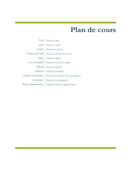 Plan de cours de l'enseignant