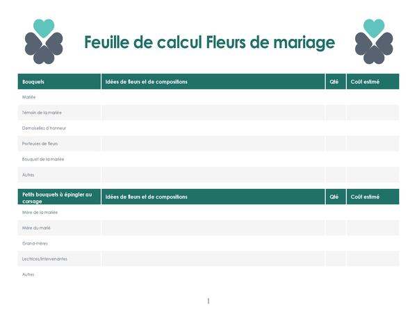 Planner voor bruiloftsbloemen (4 pagina's)