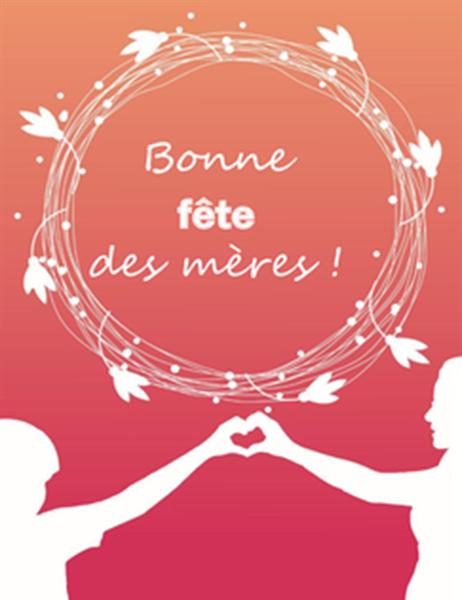 Carte de fête des mères (avec coquelicot, pliable en quatre)
