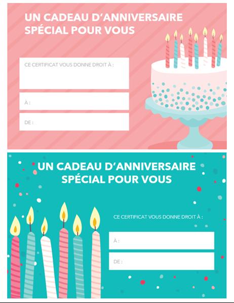 Certificado de regalo de cumpleaños
