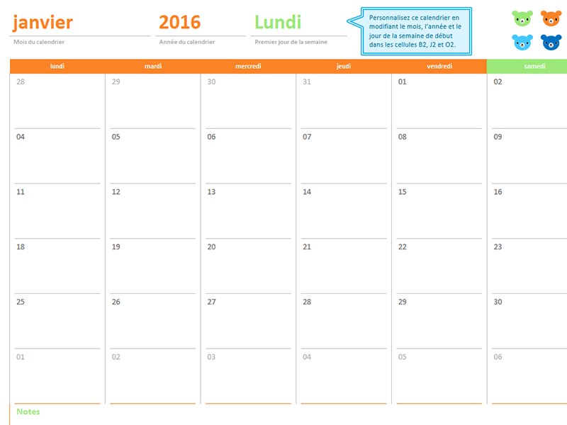 Calendrier mensuel (12pages, jeu de créations Bisounours)