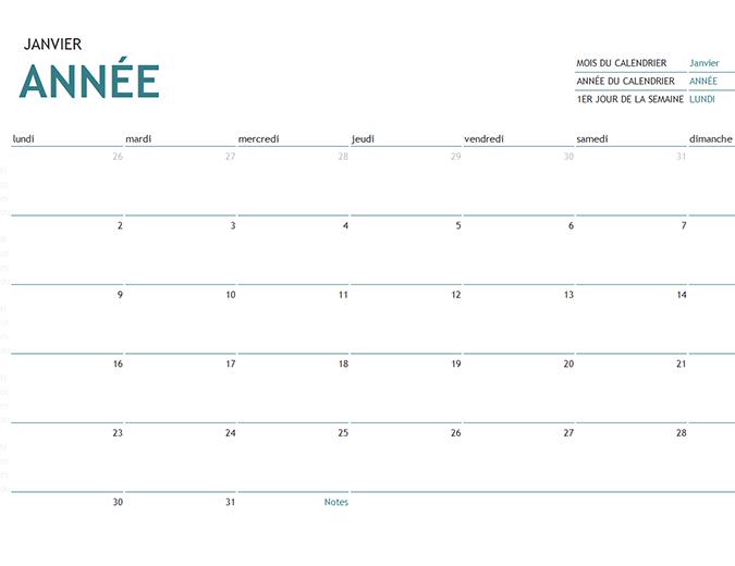 Monatskalender für beliebige Jahre mit Notizen