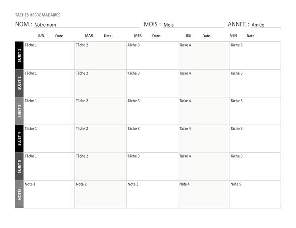 Wöchentlicher Aufgabenplan (Querformat)