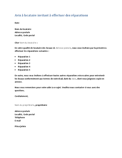 Kennisgeving aan huurder om reparaties uit te voeren (standaardbrief)