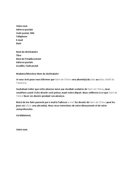 Lettre adressée à l'établissement pour l'avertir de l'absence prochaine d'un élève