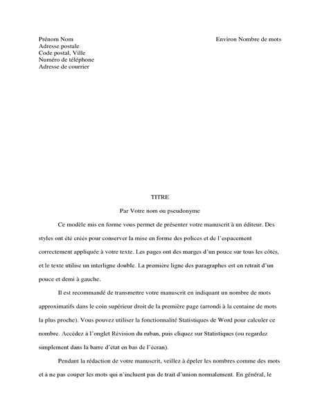 Format de manuscrit