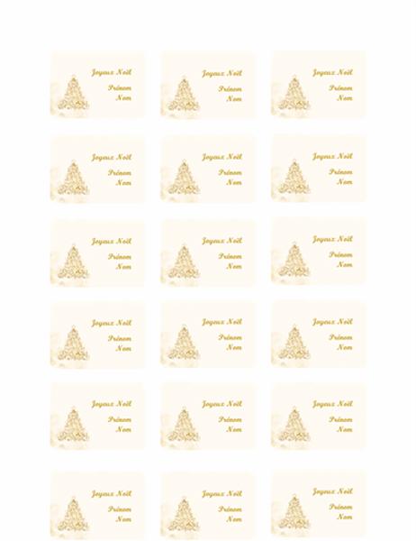 Etiquettes cadeaux - Sapin doré