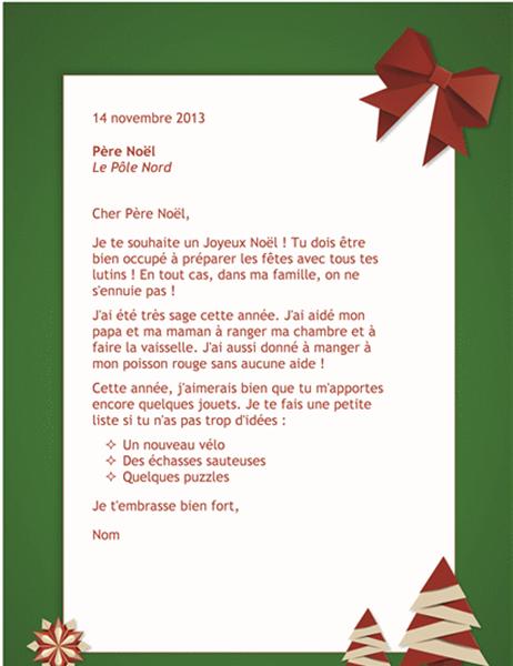 Une Lettre De Pere Noel.Lettre Au Pere Noel