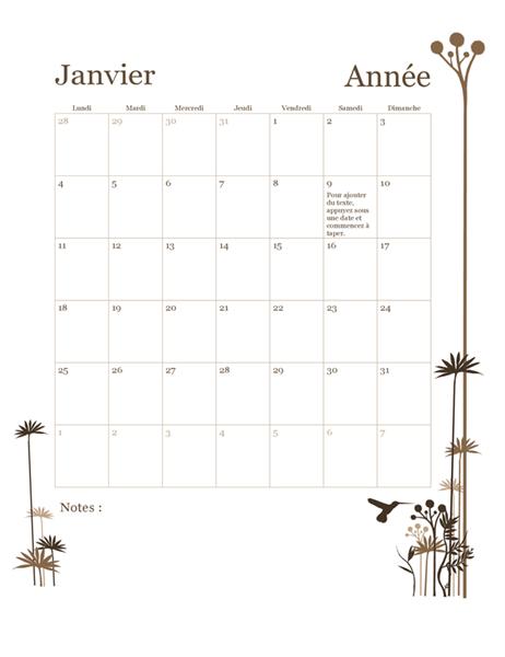Calendrier 2018 de 12mois (lun-dim)