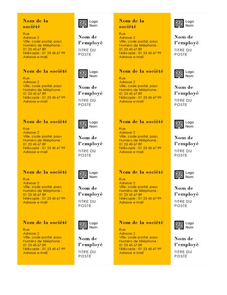 Cartes de visite (conception Barres, 10 par page)