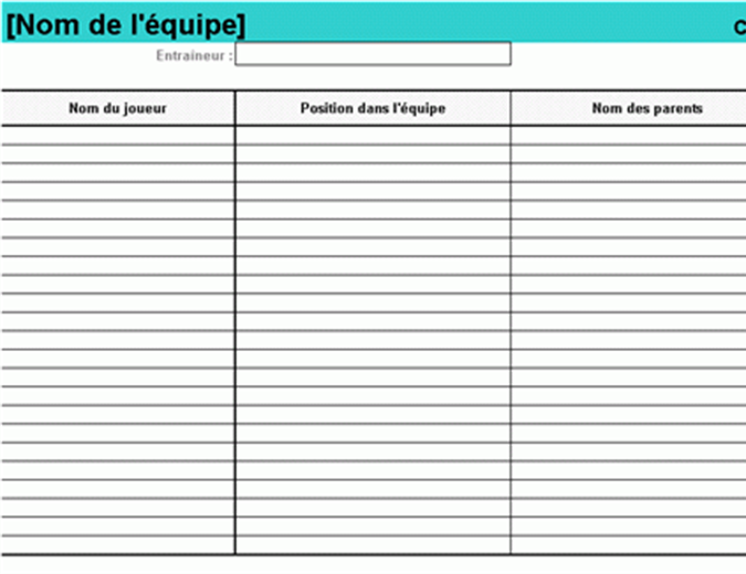Composition de l'équipe de sport junior
